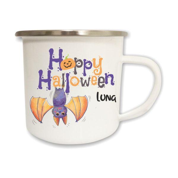 Emailletasse mit Name und Happy Halloween Fledermaus