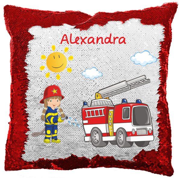 Paillettenkissen inkl. Füllung mit Feuerwehrmädchen