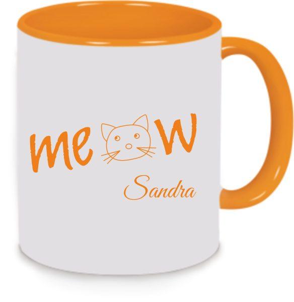 Keramiktasse Tasse Kaffee Tee Becher Cat Katze Miau Meow