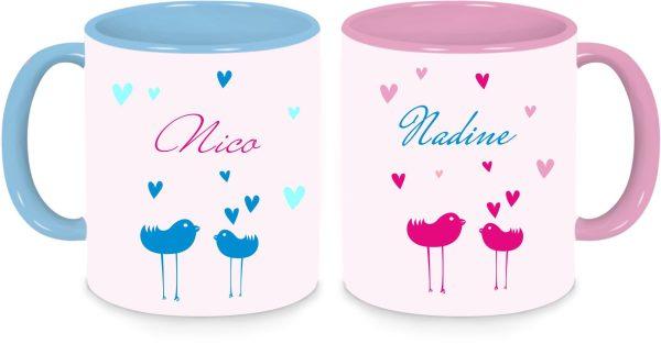 Tassen Twinset in rosa und blau mit Name und Vögelchen