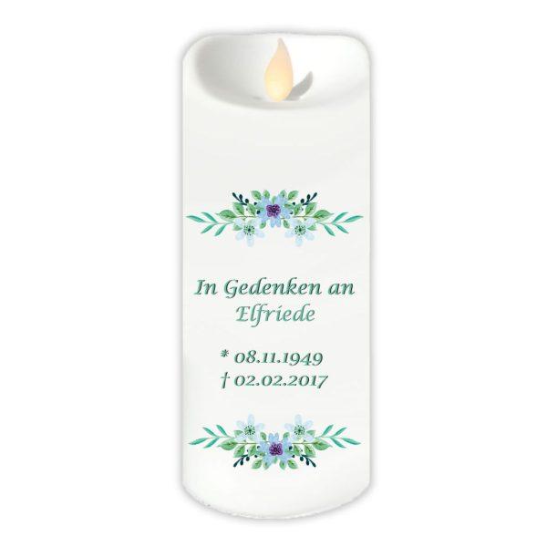 LED Kerze Twinkle Trauerkerze Watercolor Blumen
