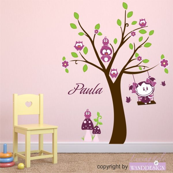 Wandtattoo Eulenbaum mit Paula Sonnenschein