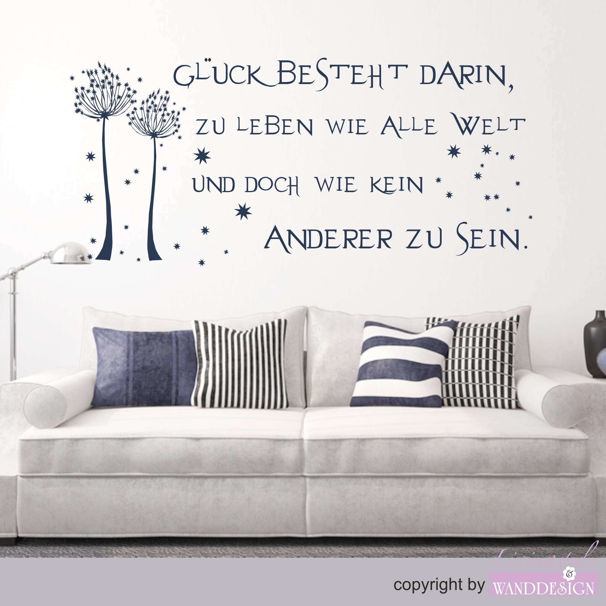 wandtattoo spruch gl ck spr che zitate wandtattoos livingstyle wanddesign. Black Bedroom Furniture Sets. Home Design Ideas