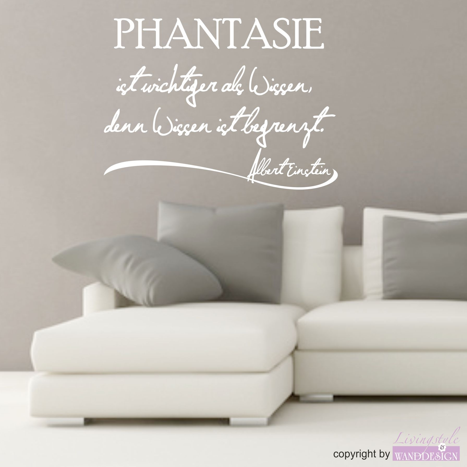 wandtattoo spruch albert einstein phantasie spr che zitate wandtattoos livingstyle. Black Bedroom Furniture Sets. Home Design Ideas