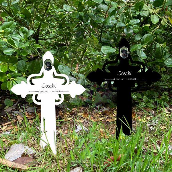 Grabkreuz mit Stern fürs Tier mit Foto