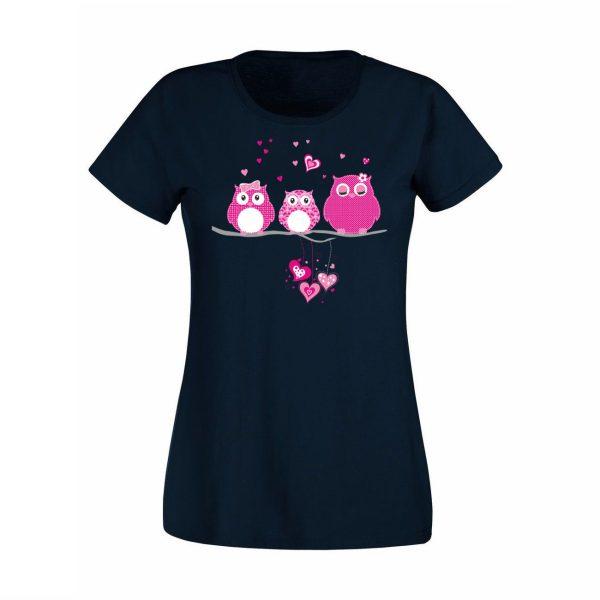 Damen T-Shirt Eulen pink
