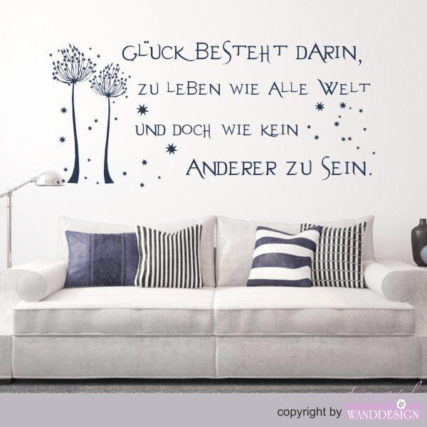 """Wandtattoo Spruch """"Glück"""""""