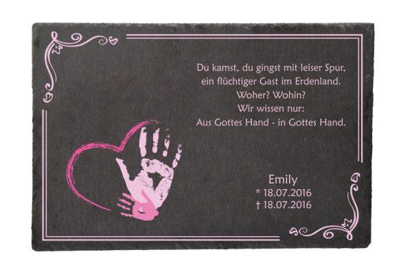 Gedenktafel Sternenkind Handabdruck in rosa