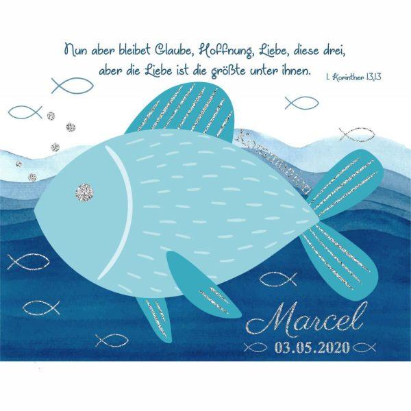 Hochwertige Leinwand zur Kommunion mit silber glanz Effekt christlicher Fisch