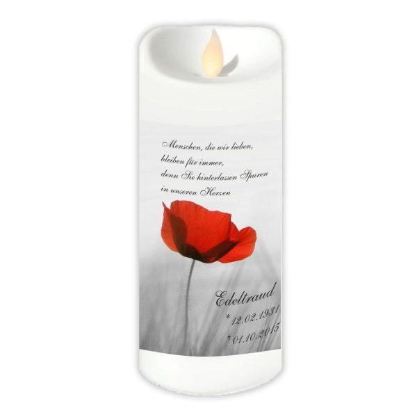 LED Kerzen Twinkle Trauerkerze Mohnblume