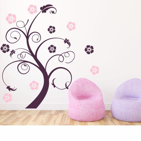 Wandtattoo Ranke Lilly & 10 Blüten 2-farbig