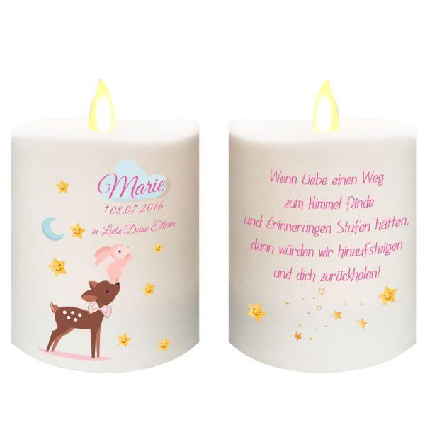 Kleine LED Kerze aus Kunststoff Sternenkind Reh mit Hase in rosa