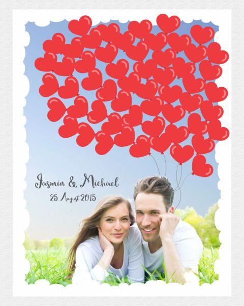 Hochzeitsleinwand Fingerabdruckbaum Gästebuch mit Foto Herzballons