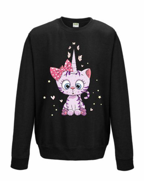Sweatshirt Shirt Pullover Pulli Unisex Unicorn Caticorn Kittykat Katze