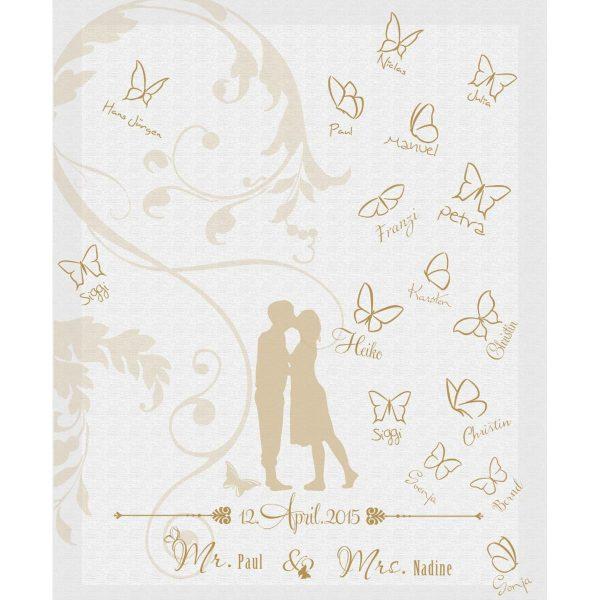 Hochzeitsleinwand Leinwand Fingerabdruckbaum Wedding Tree Gästebuch Ranke gold