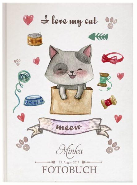Fotoalbum für Tiere Katze in der Box