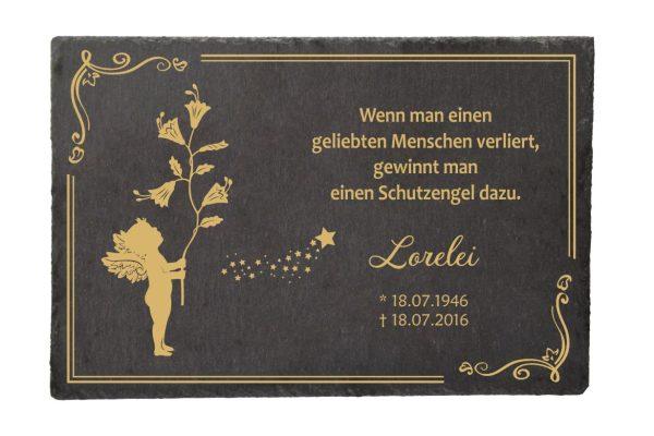 Gedenktafel Schieferplatte Goldener Engel