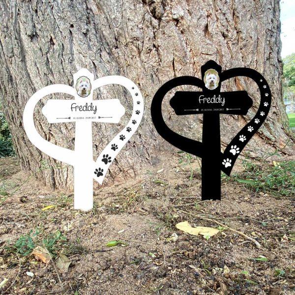 Grabkreuz mit Herz fürs Tier mit Foto und Pfoten