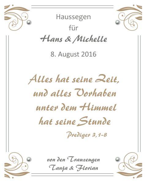 Haussegen zur Hochzeit Geschenk Leinwand 24 x 30 cm Motiv 2