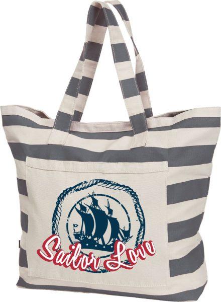 Streifen-Strandtasche Shopper maritim Sailor Love