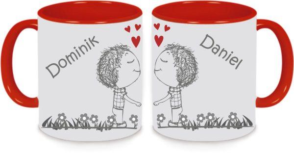 Tassen Twinset in rot mit Name und Männerpärchen