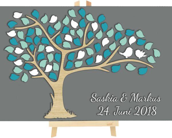 3D Baum aus Holz zur Hochzeit personalisiert mit Blätter