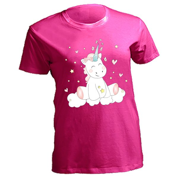 Damen Curves T-Shirt Lady Oversize Plus Size Unicorn Einhorn cutie