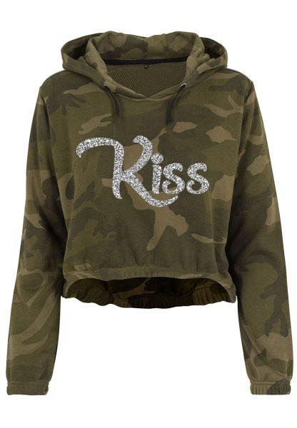 Damen Camouflage Cropped Hoodie Glitzer Kiss