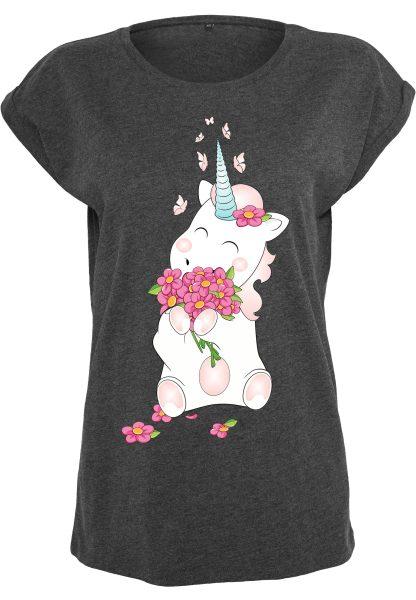 Damen T-Shirt Extended Shoulder Tee Einhorn Cutie Blume Flower