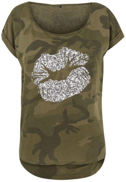 Damen Camouflage T-Shirt Glitzer Lippen