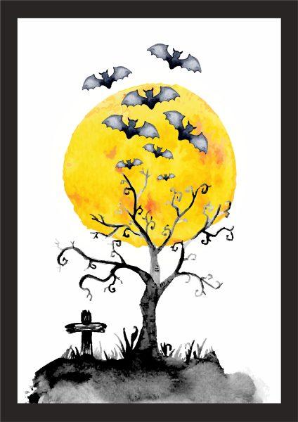 Kunstdruck Fledermaus Baum