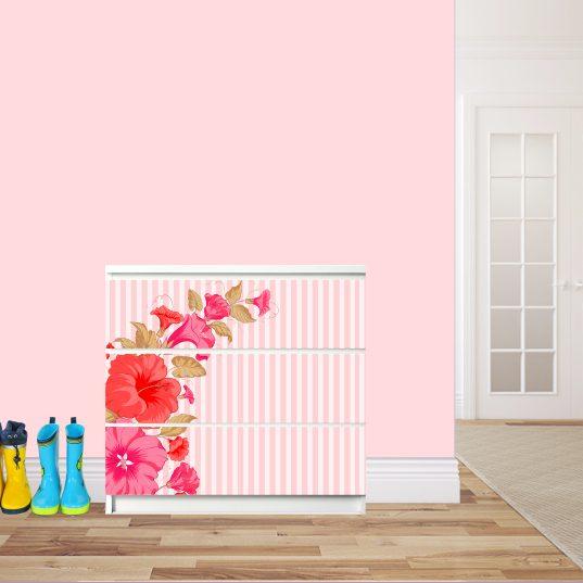 Möbelsticker für Malm-Kommode von IKEA - Motiv Hibiskus rot