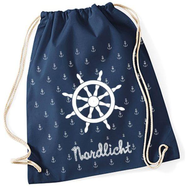 Turnbeutel aus Baumwolle in navy mit Nordlicht Steuerrad