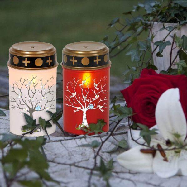 LED Grablicht Kerze Klein Sternenkind Baum mit Schleifen und blaue Eule