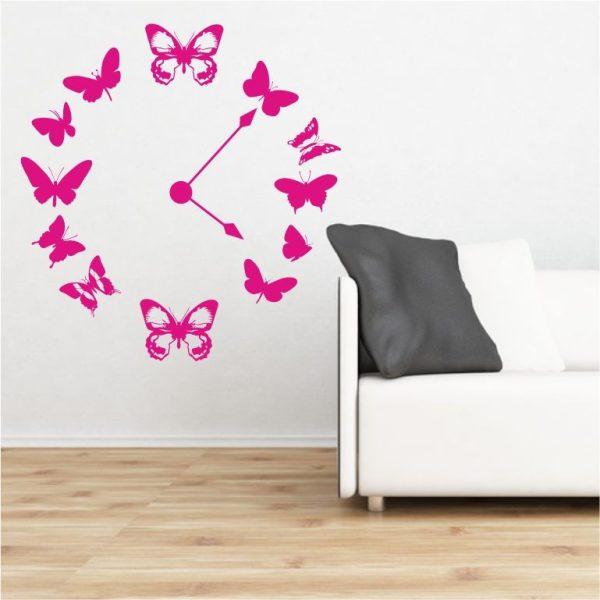 Schmetterlingsuhr Wandtattoo + Uhrwerk