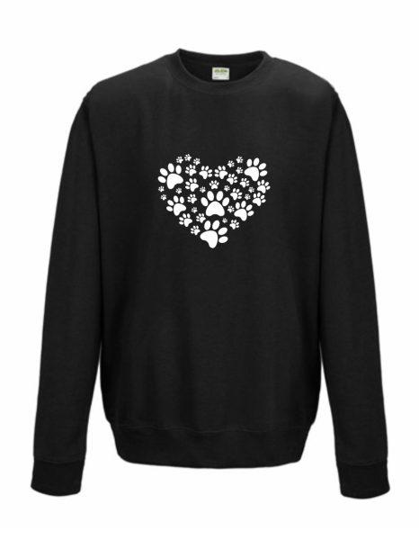 Sweatshirt Shirt Pullover Pulli Unisex Katze Hund Pfotenherz