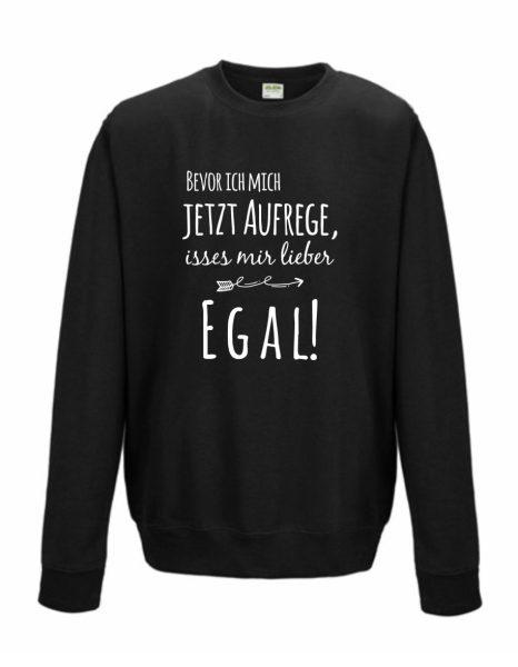 Sweatshirt Shirt Pullover Pulli Unisex Bevor ich mich jetzt aufrege, isses mir lieber egal!