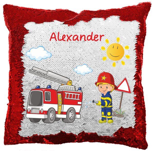 Paillettenkissen inkl. Füllung mit Feuerwehrjunge