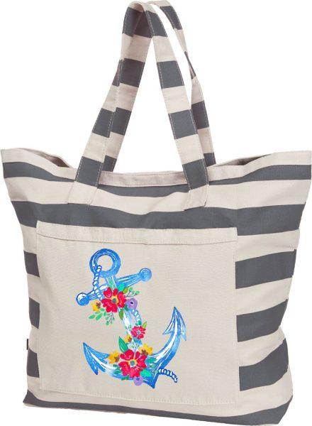 Streifen-Strandtasche Shopper maritim Blumenanker