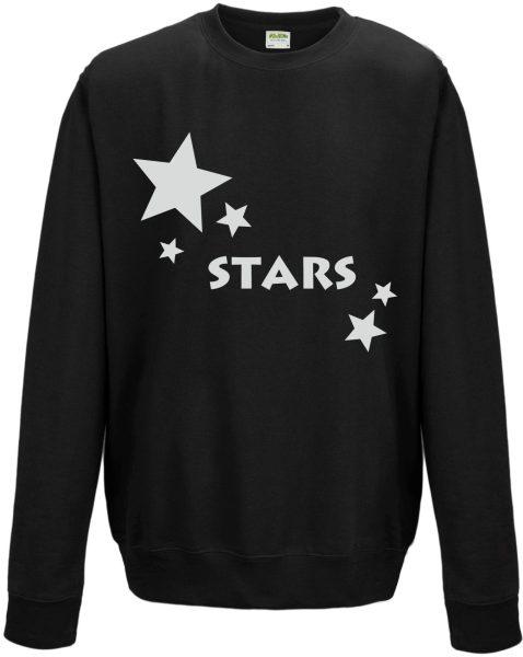 Sweatshirt Shirt Pullover Pulli Unisex mit Glitzerdruck Stars