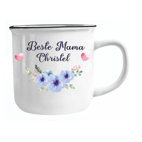 Emailletasse mit Name Beste Mama