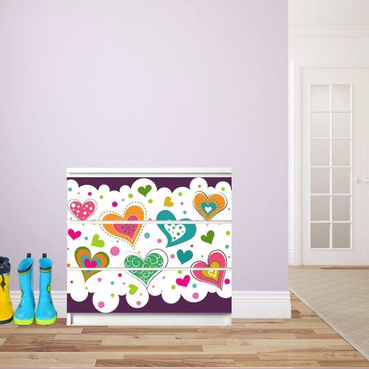 Möbelsticker für Malm-Kommode von IKEA - Motiv Herzchen