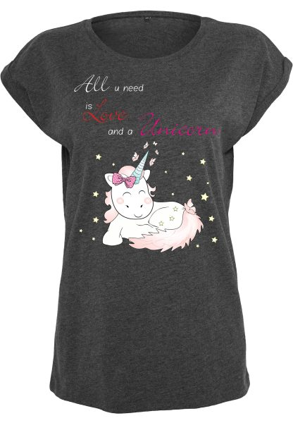 Damen T-Shirt Extended Shoulder Tee Einhorn Cutie All you need is Love and a Unicorn