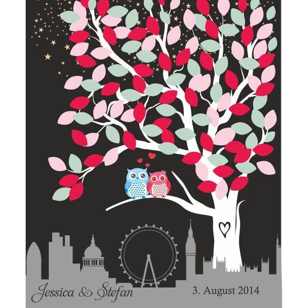 Hochzeitsleinwand Leinwand Fingerabdruckbaum Wedding Tree Gästebuch schwarz - Liebesbaum Eulen