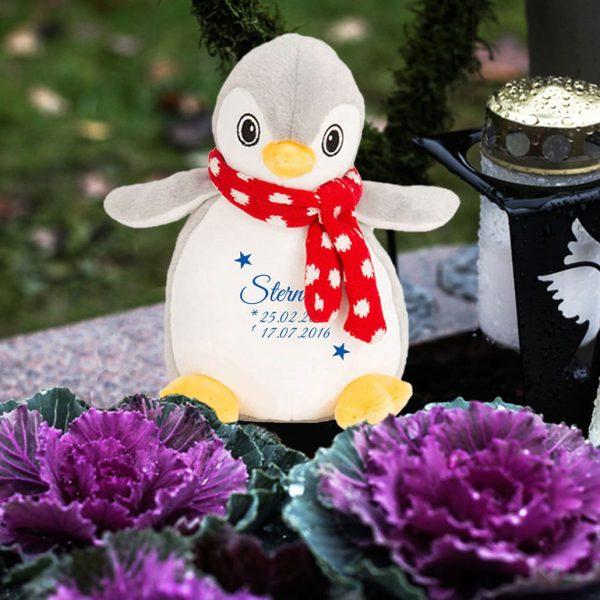 Plüschtier Kuscheltier Pinguin für Sternenkind mit zwei Sternen