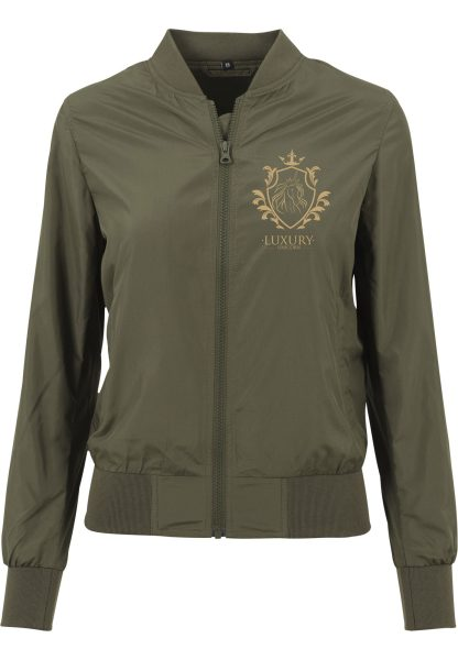 Ladies Nylon Bomberjacke Damen Blouson Einhorn Luxury Unicorn olive