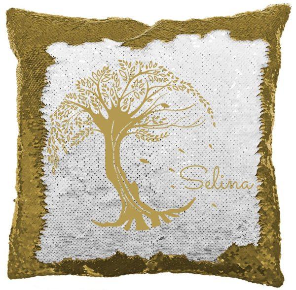 Personalisiertes Paillettenkissen inkl. Füllung mit Lebensbaum