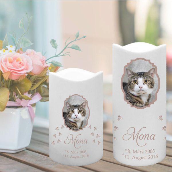 LED Kunststoff Kerze Weiß für Tiere mit Foto im Rahmen und Pfoten