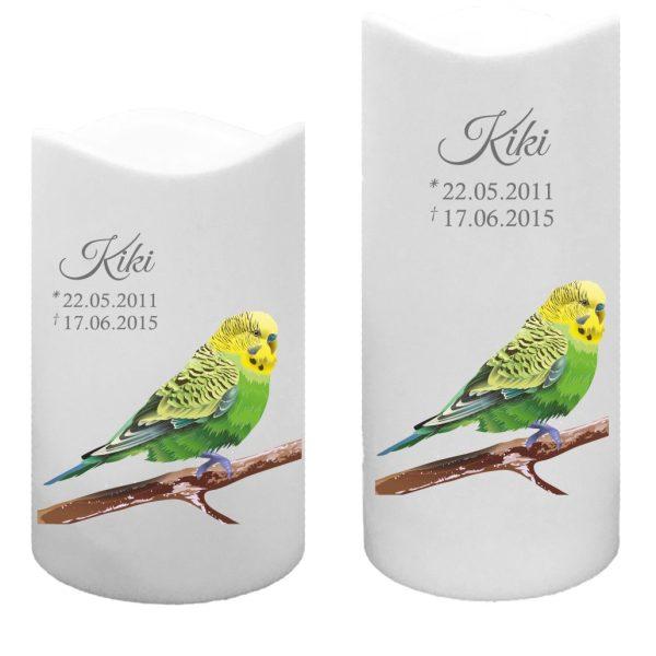 LED Kunststoff Kerze Weiß für Tiere Grüner Vogel