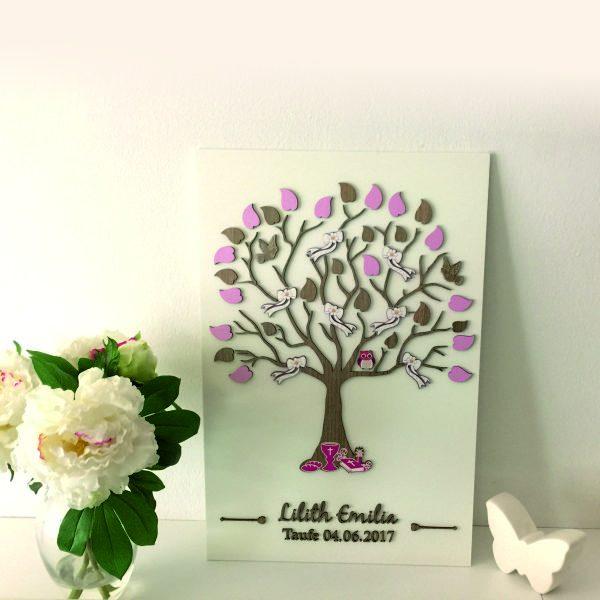 3D Baum aus Holz zur Taufe Tree Gästebuch mit Blätter